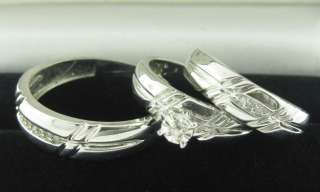HIS & HERS THREE PIECE ENGAGEMENT/WEDDING RING SET 14K GOLD 0.22 CTS