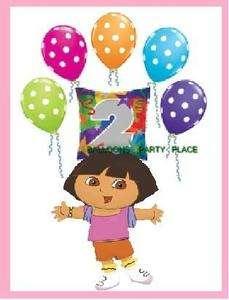 DORA THE EXPLORER 2nd birthday polka dot balloons PARTY