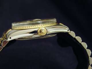 Mens Two Tone 18k Gold/Ss Stainless Steel Rolex Date Watch