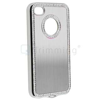 Silver Luxury Bling Diamond Aluminium Hard Case Cover+Protector for