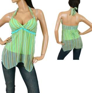 Ladies Green with Blue/Gold Summer Halter Top