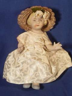 Vintage 7 ALL BISQUE GIRL DOLL Jointed Molded Hair Pretty Dress Straw