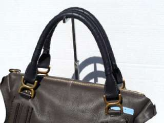 1895 CHLOE MARCIE LARGE LEATHER SATCHEL SHOULDER TOTE BAG GRAY *CELEB