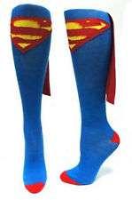 Superman Logo Blue Knee High Derby Socks with Cape, NEW UNUSED
