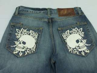 Mens Ed Hardy Jeans White Leather Skull & Rose 31x32