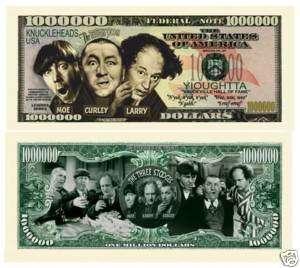 Three Stooges One Million Dollar Bill Moe Larry Curley  