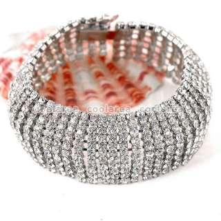 1x Clear Crystal Rhinestone Bracelet Bangle 6L Cuff Wristband Fashion