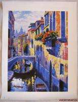 VENICE   ALONG THE CANAL   HOWARD BEHRENS  ARTIST EMBELLISHED CANVAS