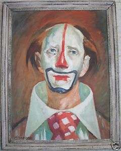 HAUNTING SAD CLOWN OIL PAINTING LISTED ARTIST MOLLARDE