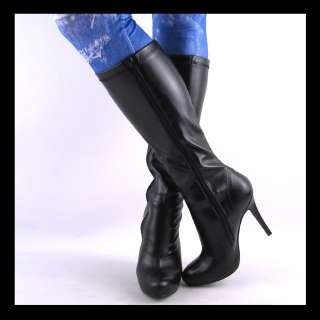 NEW WOMENS BLACK OVER CALF HIGH HEEL STRETCH BOOTS