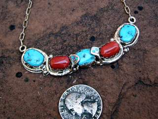 Zuni Effie C Turquoise Coral Sterling Silver Choker Necklace