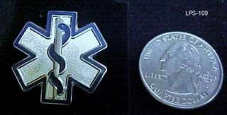 Silver Plate Blue Star of Life EMT EMS Medical Pin 109