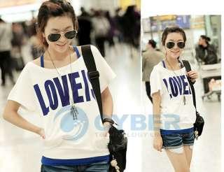 Korea Fashion Short Sleeve Off Shoulder Womens 2 Pcs Vest + T Shirt