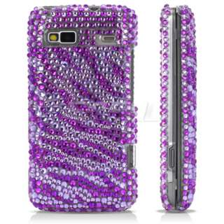 PURPLE ZEBRA CRYSTAL BLING CASE COVER FOR HTC DESIRE Z