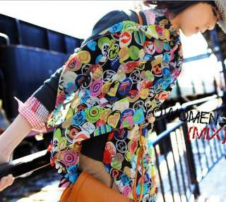 Colorful Smile Face Long silk scarf Shawl Wrap