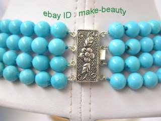 classic 4rows natural 8mm round blue turquoise beads necklace