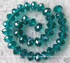 7x10mm Green Crystal Glass Faceted Roundel Beads 10