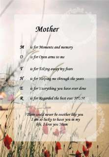 Mum/mother *NAME POEM** UNIQUE GIFT (for special mum)