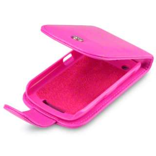 HOT PINK PU LEATHER FLIP CASE FOR BLACKBERRY CURVE 9360