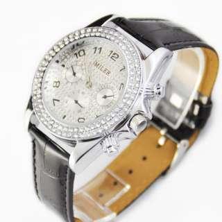 Women Girl Black Manmade Crystal Diamond Quartz Wristwatch Pu Leather