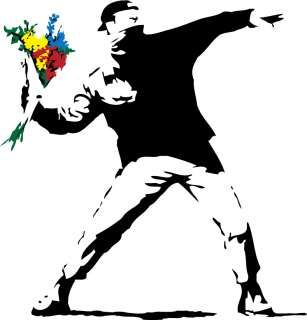 BANKSY FLOWER THROWER URBAN GRAFFITI ART T SHIRT