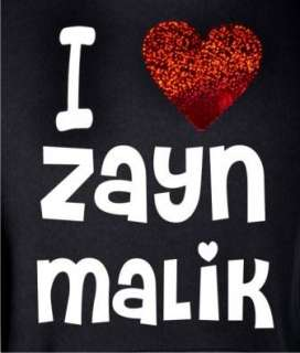 LOVE ZAYN MALIK ~ NEW ~ KIDS BLACK HOODIE with RED HEART AGE 5 15