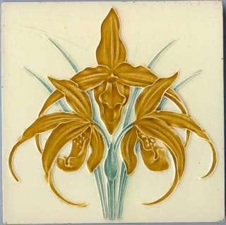 Art Nouveau Majolica tile BOCH FRERES BELGIUM ORCHID