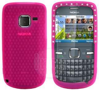 Pink Silicone Diamond Case Cover For Nokia C3 + Film