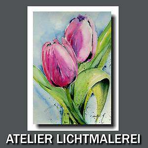 KUNST BILD GEMÄLDE Tulpen Blumen AQUARELL ORIGINAL two pink tulips
