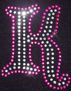 ALPHABET LETTER fancy K iron on RHINESTONE TRANSFER