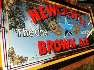 Newcastle Nut Brown Ale XXXL 65 Back Bar Mirror Beautiful Wood Frame
