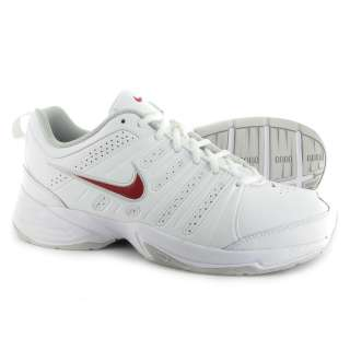 Nike T Lite X Mens Supportive Leather Training Shoes   White/Red/Grey