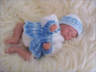 Early Baby or Reborn Doll DK Knitting Pattern Matinee Coat, Hat
