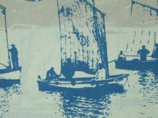 Double Width Boats Blue French Designer Curtain Fabric