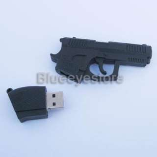 Black Gun Shape 16GB USB 2.0 Flash Memory Pen Drive Real Capacity