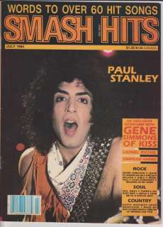 KISS SMASH HITS MAGAZINE PAUL STANLEY GENE SIMMONS 1984