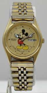 Vintage Seiko Quartz Walt Disney Mickey Mouse Gold Day / Date Watch