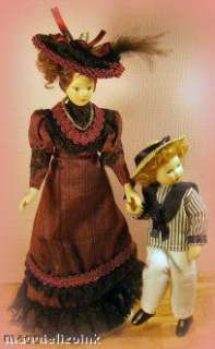 Dolls house dolls~3 porcelain~Ladies~Red,Blue,Brown