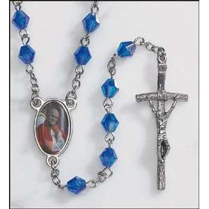 Pope John Paul II Sapphire Rosary with Holy Card, Gold Satin Bag and