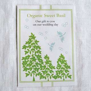 Buy our 5 pack of Organic Sweet Basil seeds as a wedding favour for
