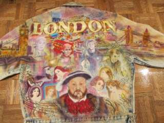 Tony Alamo LONDON ENGLAND Denim Jean Jacket Sz Small Vtg Handpainted