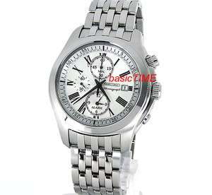 SEIKO MEN CHRONOGRAPH ALARM 100M SAPPHIRE SOLID STAINLESS STEEL SNAE29