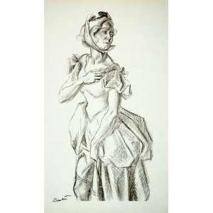 1968 Print Thomas Hart Benton Lady Costume Antebellum South Dress