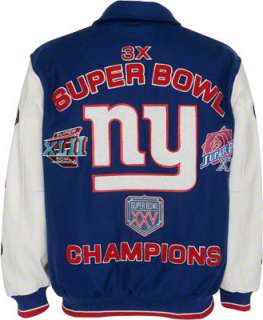 New York Giants Full Zip Commemorative Wool Varsity Jacket