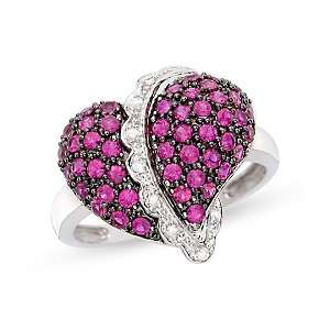 1ct Ruby and Diamond 14K White Gold Heart Ring