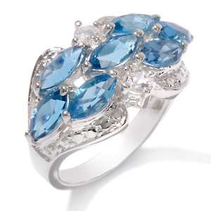 Blue Topaz and White Topaz Sterling Silver Fancy Cluster Ring