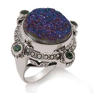 Multicolor Drusy and Green Topaz Sterling Silver Round Ring