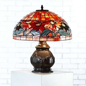 Tiffany Style Poinsettia Round Table Lamp