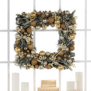Silver and Gold Square Christmas Wreath