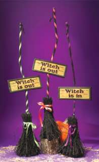 Witch Broom And Sign Orange Ribbon (Props & Decor)